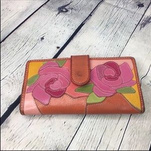 Fossil leather Flower leather wallet Billfold
